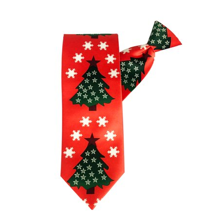 Jacob Alexander Men's Red Orange Christmas Tree Stars and Snowflakes Extra Long Clip-On Neck Tie Christmas Snowflake Tie