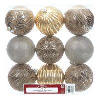 Holiday Time Shatterproof Ornaments, 9-Count, Gold Silver Zinc
