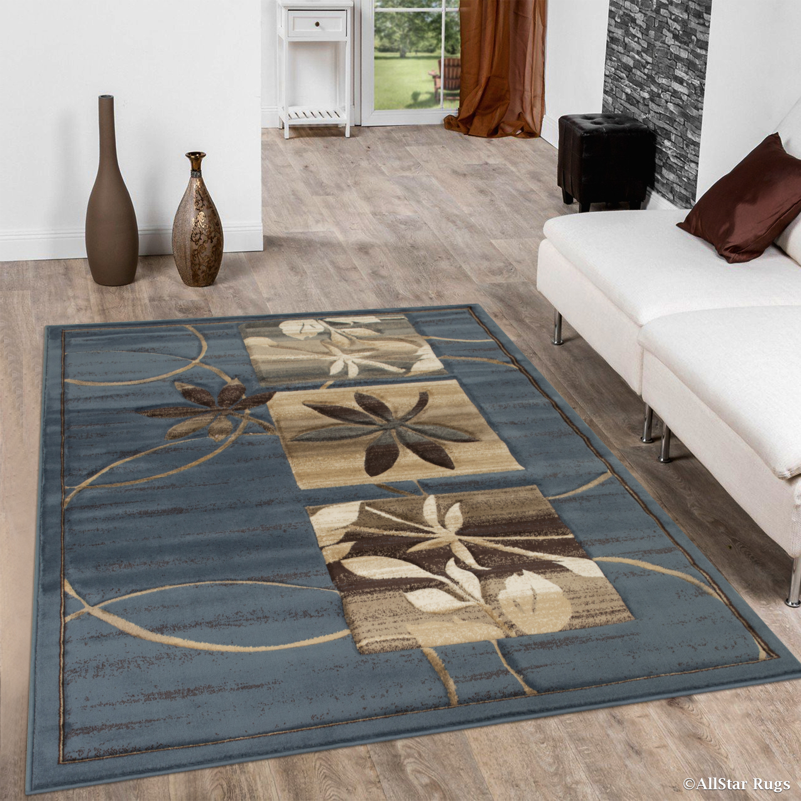 Click here to buy Allstar Blue Flowers Floral Design Modern Geometric Area Rug (5
