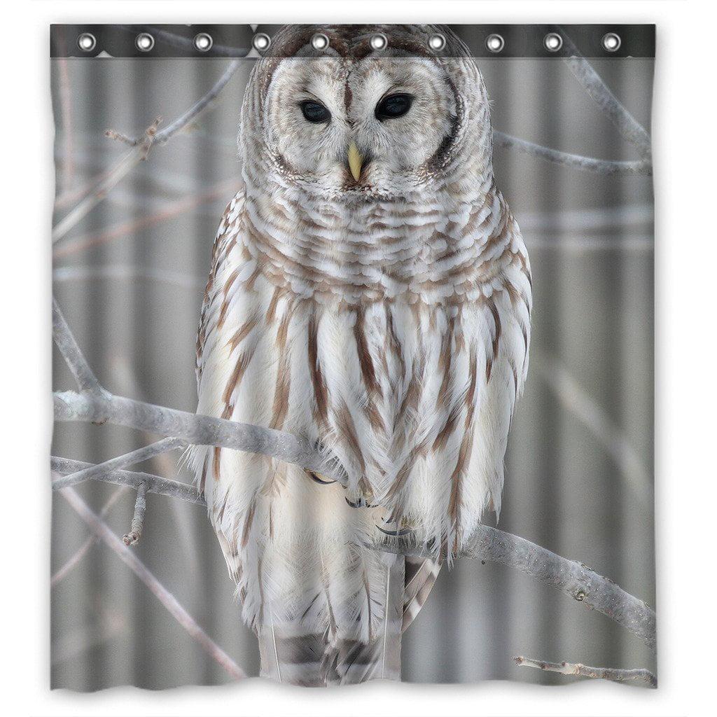 Polyester Fabric Shower Curtain Waterproof Bathroom BathMat Rug Flower Owl Tree