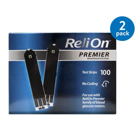 (2 Pack) ReliOn Premier Blood Glucose Test Strips, 100