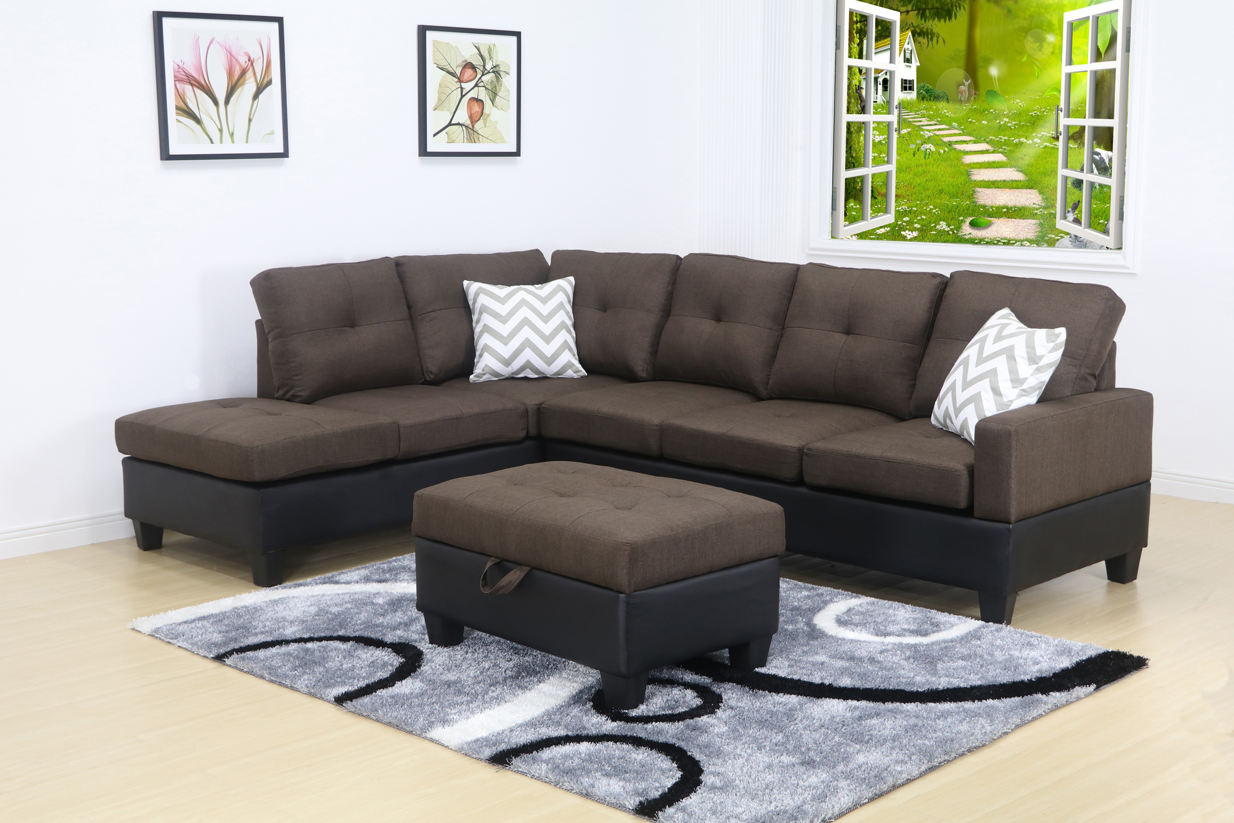 Evelyn Brown Linen Left Facing Modern Living Room Sectional Sofa set  sc 1 st  Walmart : rooms with sectional sofas - Sectionals, Sofas & Couches