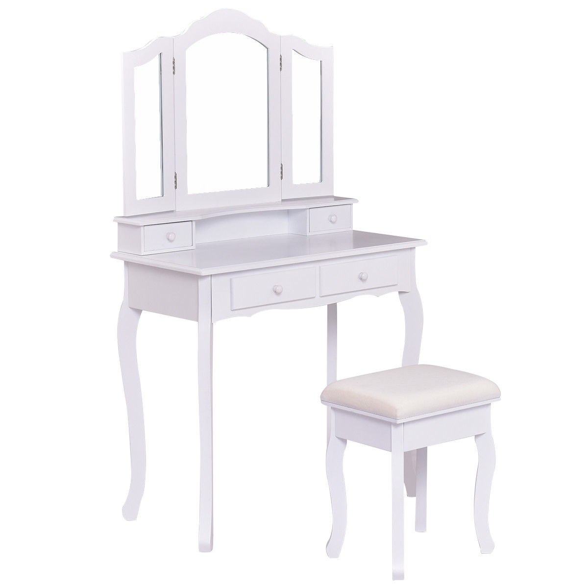 Gymax Bathroom Vanity Jewelry Makeup Dressing Table Set With Stool 4 Drawer Folding Mirror White by Gymax