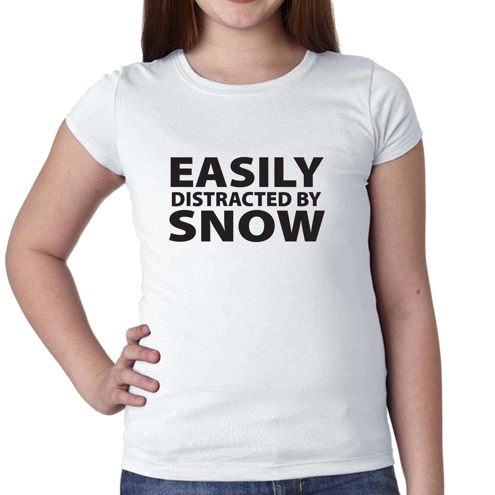 Easily Distracted By Snow Skiing Snowboarding Girl's Cotton Youth T-Shirt by Hollywood Thread