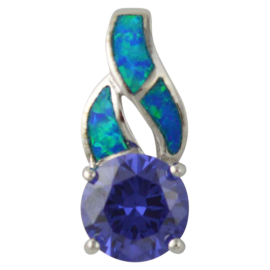 Sterling Silver Blue Created Opal & Blue CZ Pendant 925 Silver Jewelry