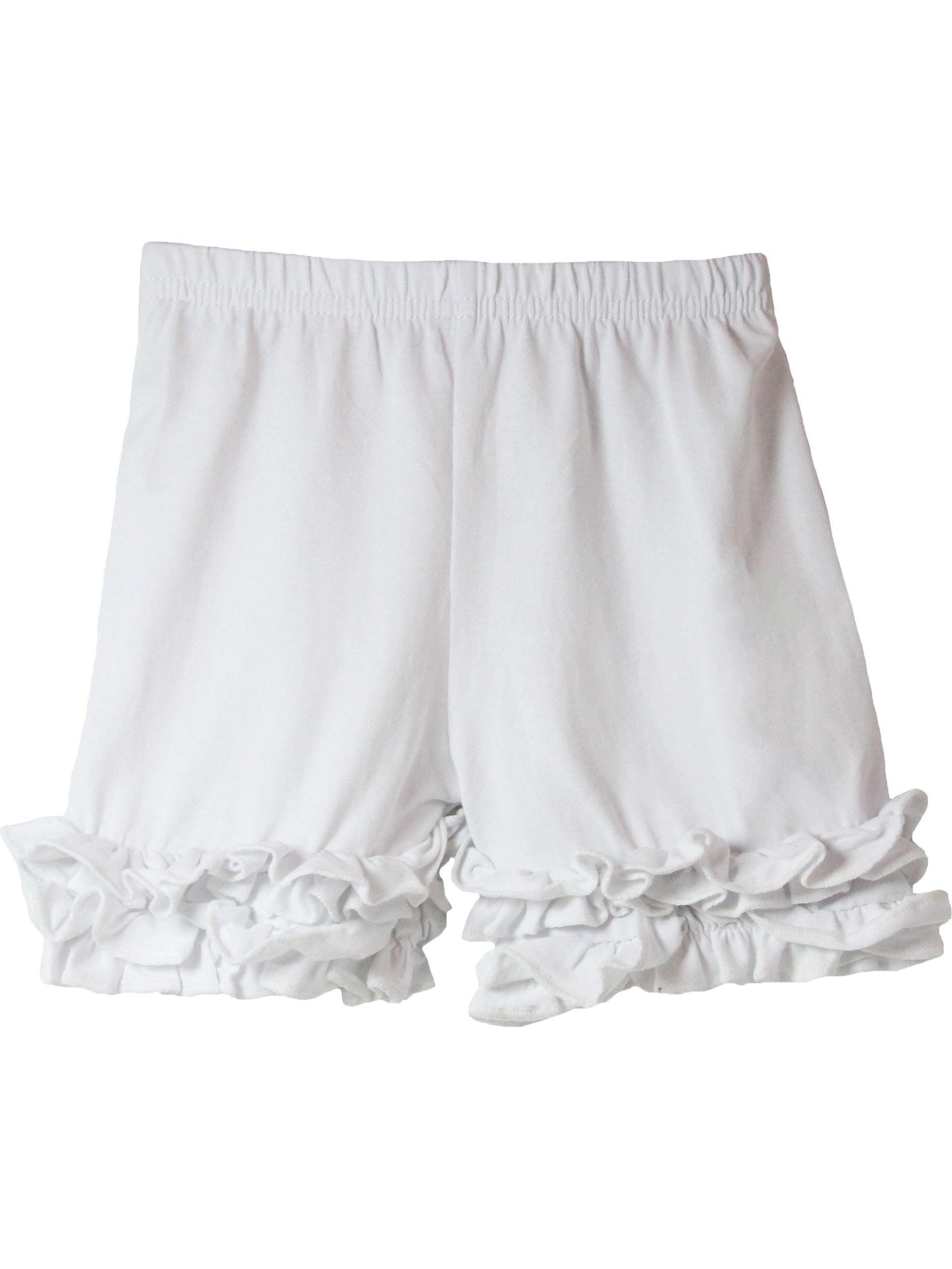 Girls White Elastic Waist Ruffle Bottom Icing Boutique Shorts