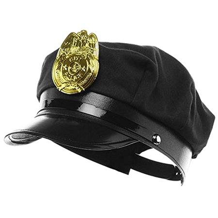 Novelty Costume Police Cop Black Hat with Plastic Badge Halloween Accessory (Halloween Safety Tips From Police)