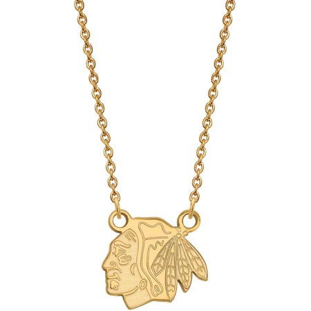 LogoArt NHL Chicago Blackhawks 14kt Gold-Plated Sterling Silver Small Pendant with