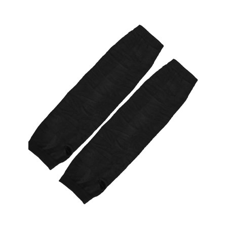 Unique Bargains Women Pair Acrylic Fingerless Thumbhole Arm Warmers Long Gloves Black - Black Arm Warmers