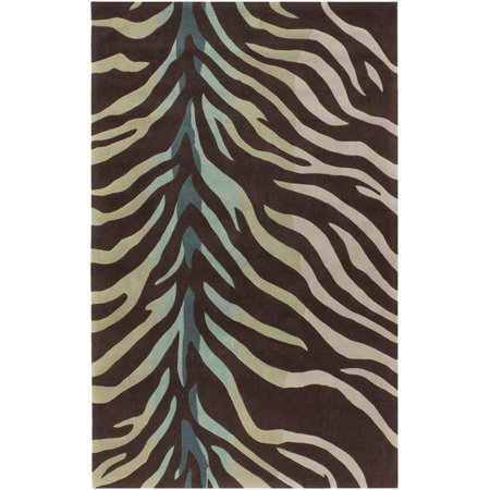 Tufted Zebra Rug (3.5' x 5.5' Zebra Animal Print Brown, Blue and Green Hand Tufted Area Throw Rug)