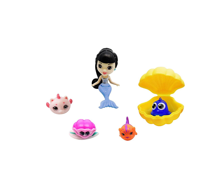 Four and One Treasure Shell Splashlings Mermaid 6 Pack Playset Wave 1 One Mermaid