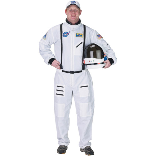 White Astronaut Suit Adult Halloween Costume, Size: Men's - One Size