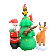 ALEKO CHID016 Inflatable LED Santa and Friends Christmas Tree Decor Committee with UL Certified Blower - 7 Foot