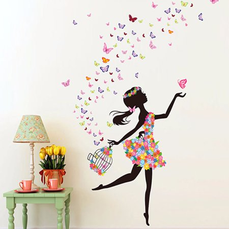 Girls Room Wall Stickers (Flower & Girl Removable Wall Art Sticker Vinyl Decal DIY Room Home Mural Decor Today's Special Offer! )