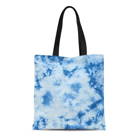 Canvas Indigo Tote (LADDKE Canvas Tote Bag Abstract Tie Dyed of Indigo Color on White Hand Durable Reusable Shopping Shoulder Grocery Bag)