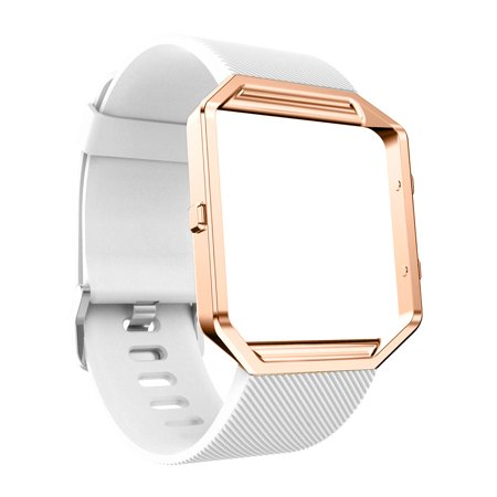 Silicon Bracelet smart Watch Band Wrist Strap With Metal Frame For Fitbit Blaze WH ()