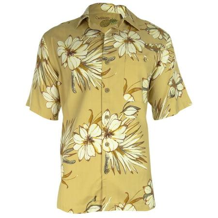 Caribbean Men's Hibiscus Silk Blend Casual Shirt (M, Lark)