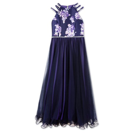 Speechless Sleeveless Ombre Chiffon Ruffle Hem Dress With Jeweled Waist Detail (Little Girls & Big