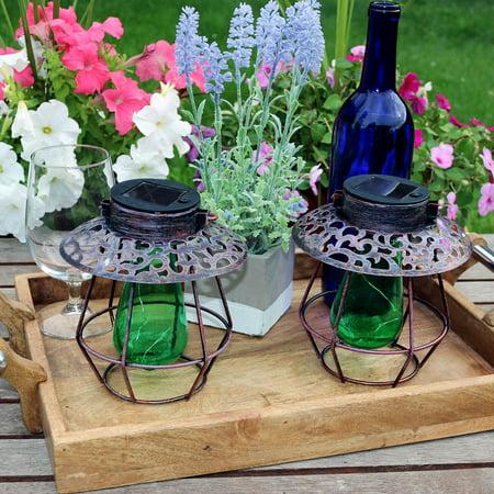 Sunnydaze Outdoor Solar Lantern Light Set Of 2 Hanging Garden Led Decorative Caged String Lights With Green Vintage Style Bulb