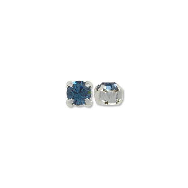 Swarovski Round 2-Hole Setting 6mm Denim Blue Sterling Silver Plated (Package of 1)
