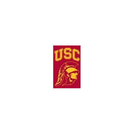 (Party Animal Sports Fan NCAA Team USC Trojans Applique Banner Flag Trojan Head design)