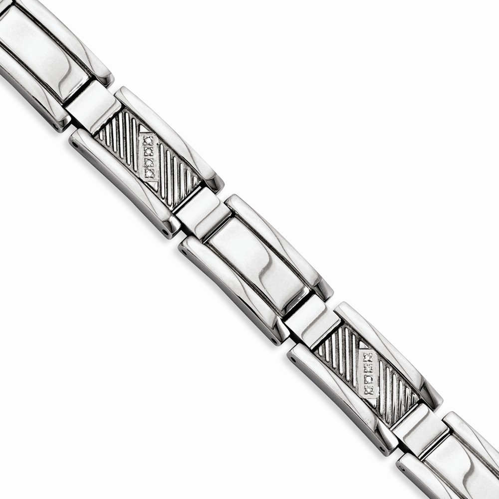 IceCarats Stainless Steel Textured Diamonds 8.5 Inch Bracelet 8.50 Man Link Men Fashion Jewelry Dad Mens Gift Set by IceCarats