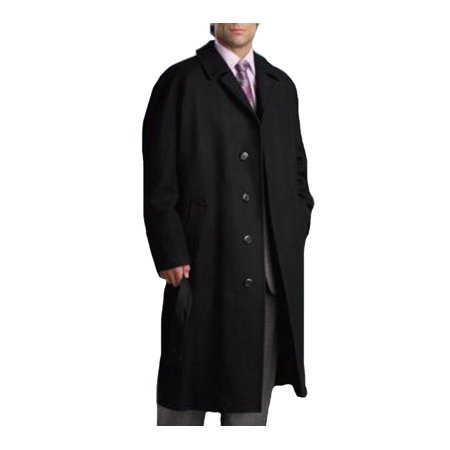 Men's Dress Coat Single Breasted 3 Button Black Full Length Wool and Cashmere Overcoat Single Button Vest