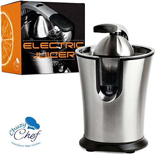 Stainless Steel Electric Citrus Juicer: Compact Lemon, Lime or Orange Squeezer Press by Chuzy Chef