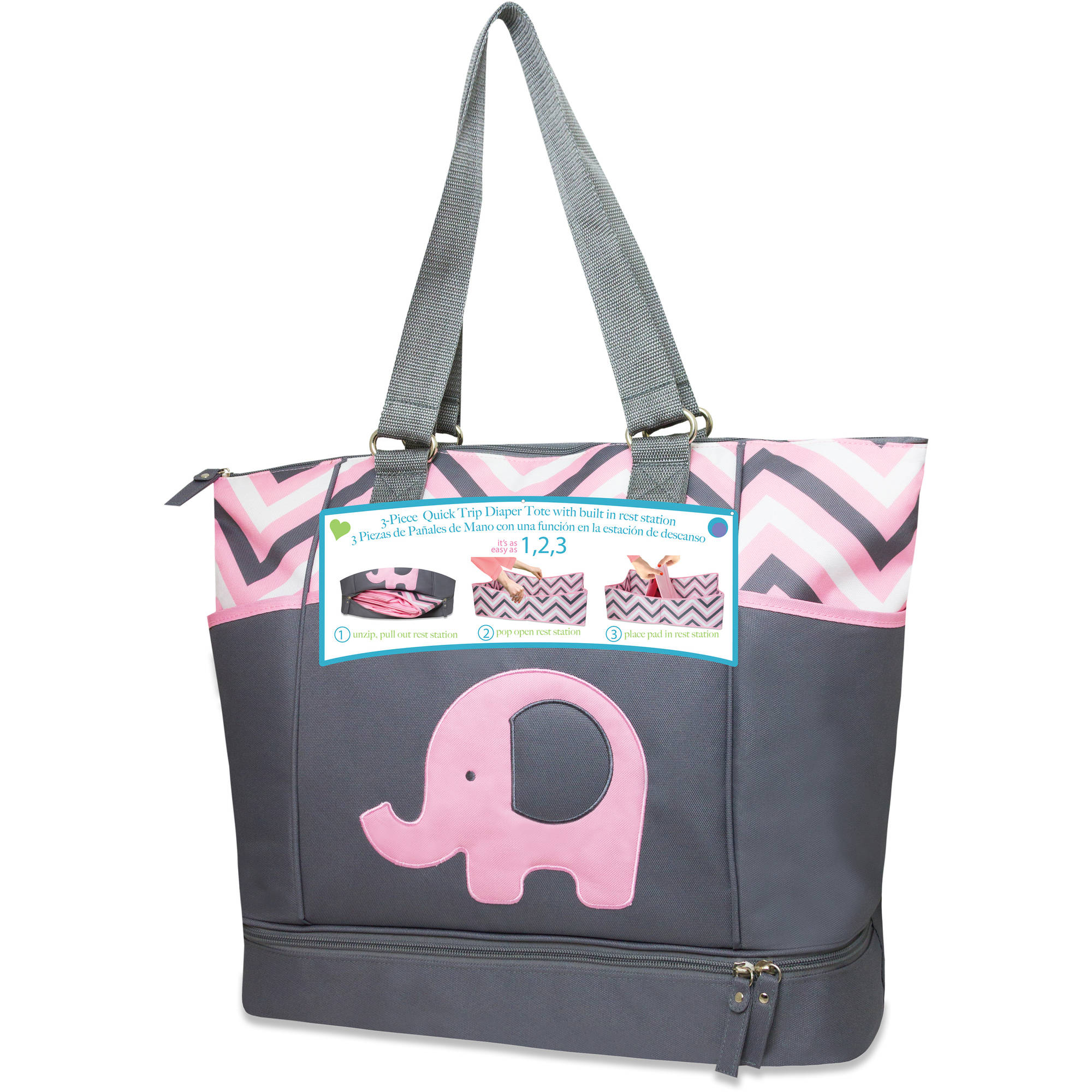 Tender Kisses Elephant Porta Bed Diaper Bag, Gray/Aqua