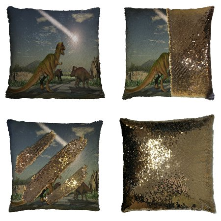GCKG Dinosaur Pillowcase, Sunlight Sky Dinosaur Reversible Mermaid Sequin Pillow Case Home Decor Cushion Cover 16x16 inches - Dinosaur Home Decor