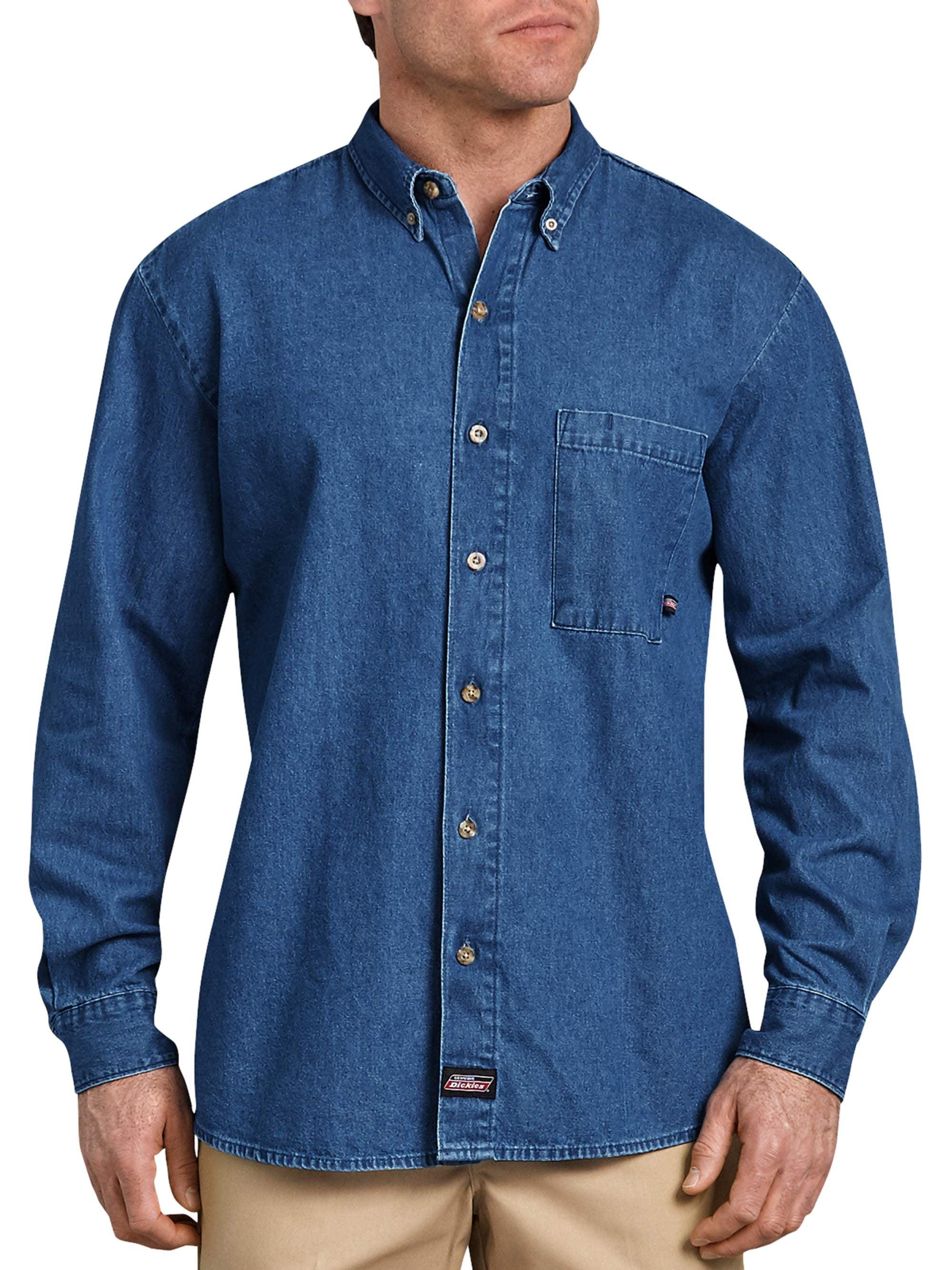 HERW Mens Comfortable Long-Sleeve Band-Collar Denim Shirt