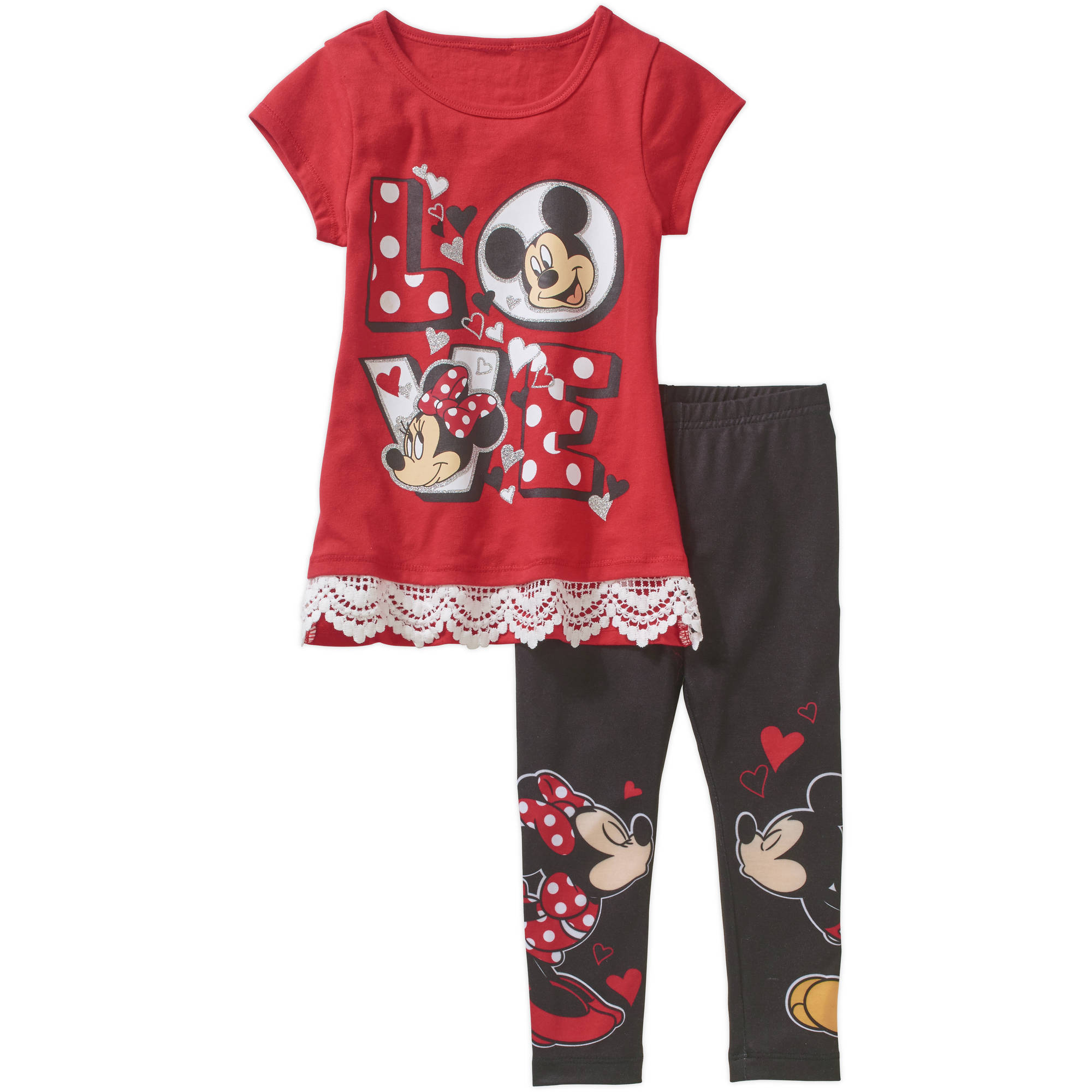 Minnie Mouse Toddler Girl Lace Trim Tunic and Leggings Outfit Set