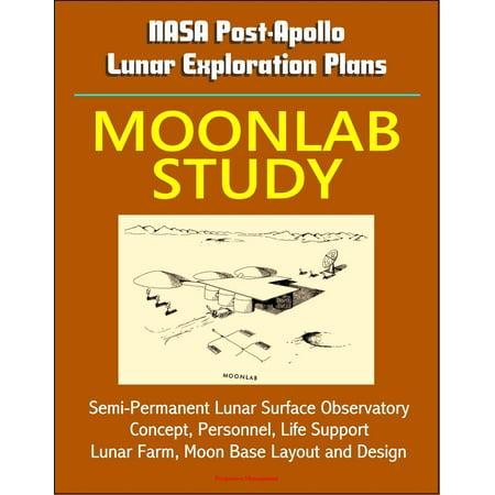 NASA Post-Apollo Lunar Exploration Plans: Moonlab Study - Semi-Permanent Lunar Surface Observatory Concept, Personnel, Life Support, Lunar Farm, Moon Base Layout and Design -