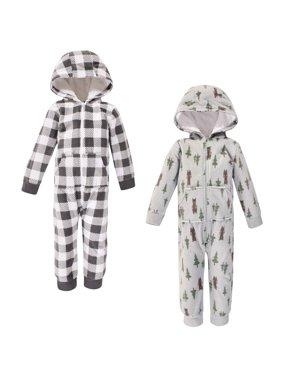 Hudson Baby Girl Toddler Fleece Jumpsuits, 2-Pack