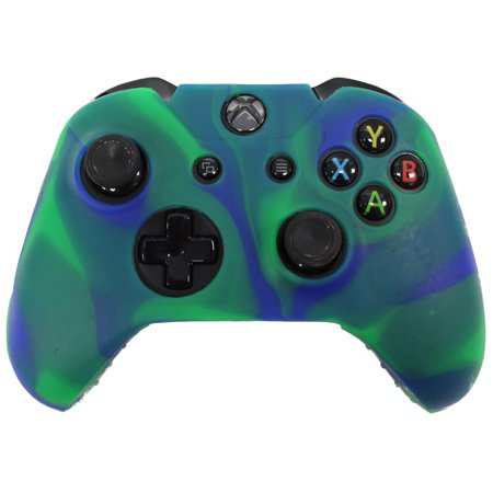 6 Game Case - HDE Xbox One Controller Skin Silicone Rubber Protective Grip Case Cover for Microsoft Xbox 1 Wireless Gamepad Camo (Marble Green/Blue)