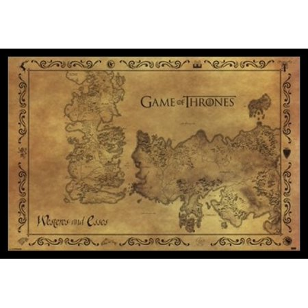 Game of Thrones - Antique Map Laminated & Framed Poster (36 x 24)