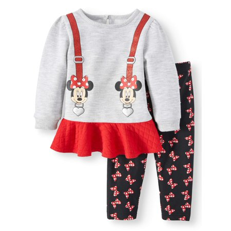 Long Sleeve French Terry Peplum Tunic & Leggings, 2-Piece Outfit Set (Baby Girls)
