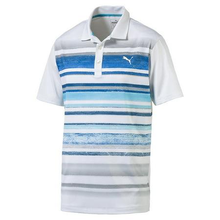 Puma Washed Stripe Polo Mens Golf Shirt White Blue 572204   New 2017