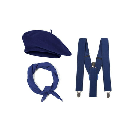 French Costume Kit, Navy Beret, Navy Suspenders, Navy Bandana