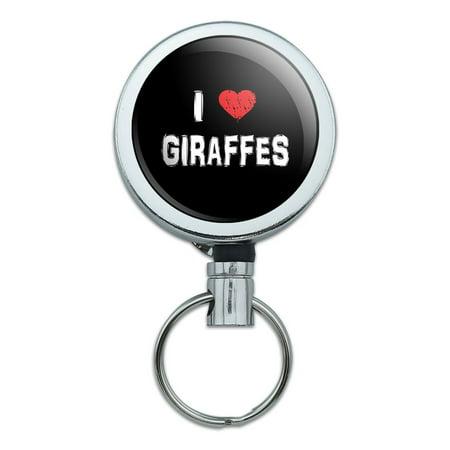 I Love Giraffes Stylish Retractable Belt Clip Badge Key Holder - Line Retractable Belt