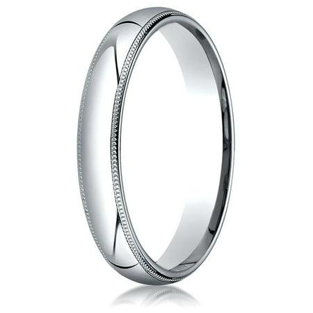 10k Gold 4mm Slightly Domed Standard Comfort-fit Ring with Milgrain