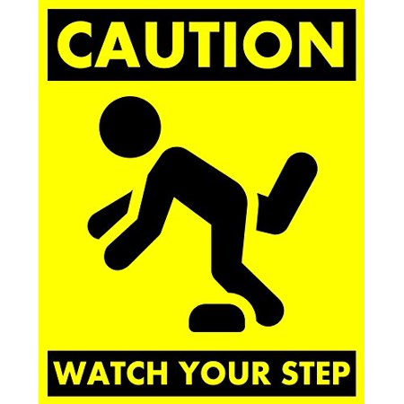 10 Inch Step Bumper - CAUTION: WATCH YOUR STEP Sticker / Sign. 8 X 10 inches.!, Adhesive-Backed CAUTION: WATCH YOUR STEP sticker / sign. By MP Printing