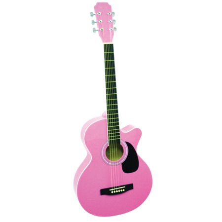 Main Street MAS38PNK 38-Inch Cutaway Acoustic Guitar With High Gloss Pink -
