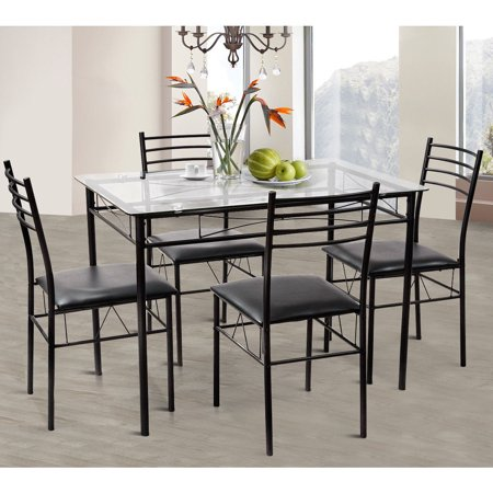 Gymax 5 PC Dining Set Glass Top Table and 4 Chairs Kitchen Room Furniture ()