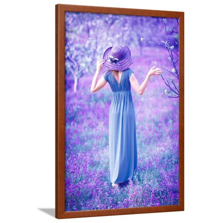 Dreamy, Fine Art Photo of Seductive Woman in Fairy Garden, Romantic Girl in Elegant Long Dress on P Framed Print Wall Art By Anna Omelchenko