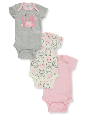 Onesies Baby Girls' 3-Pack Bodysuits