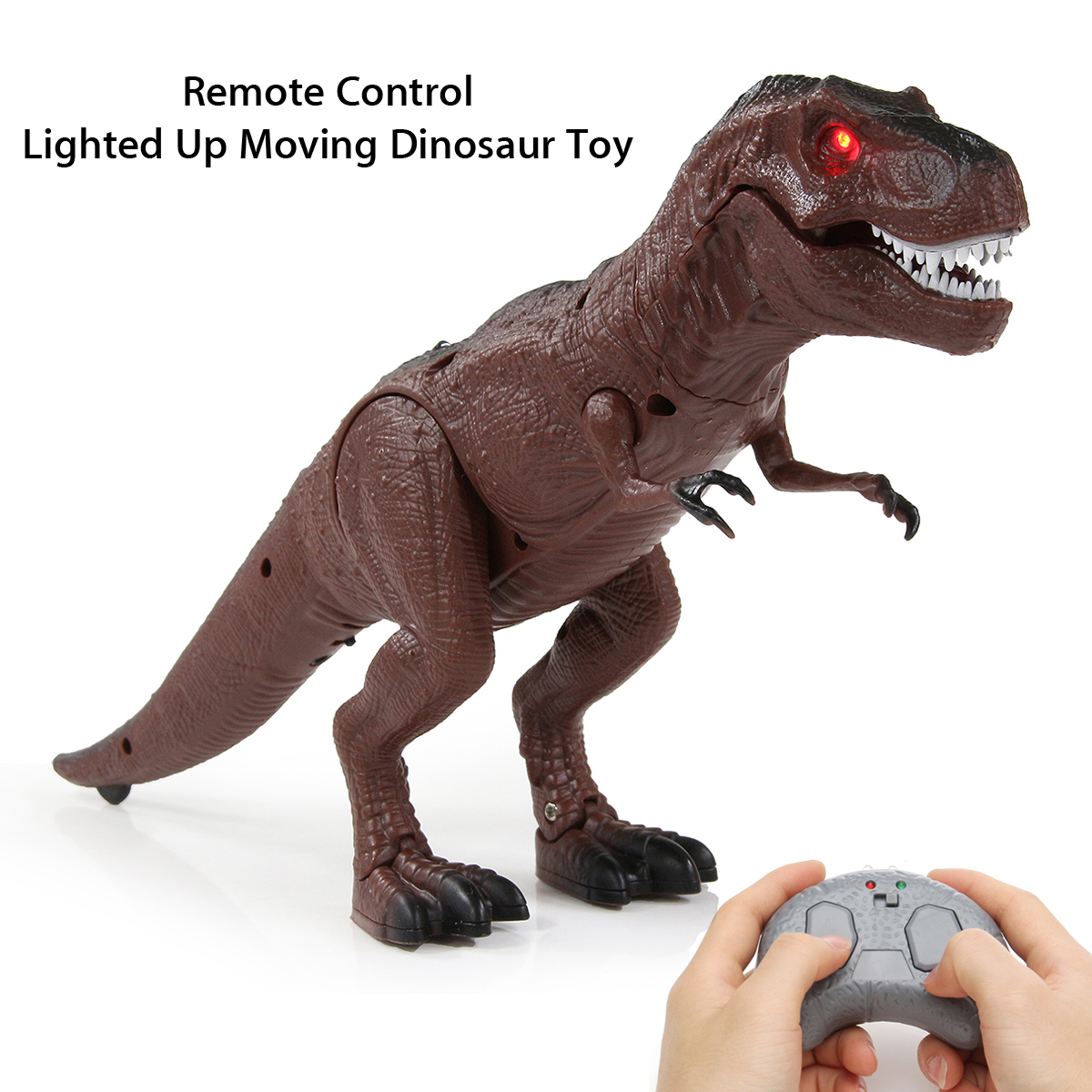Battery Operated Remote Control Walking Toy Dinosaur Figure w/ Shaking Head, Walking Movement, Light Up Eyes and Sounds Kids Gift