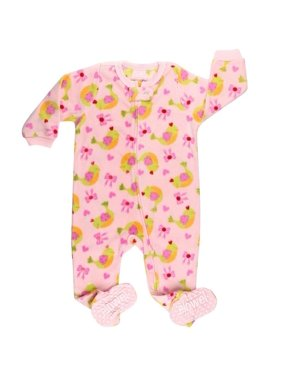 Elowel Little Girls Pink Bird Bow Print Footed Fleece Sleeper Pajama