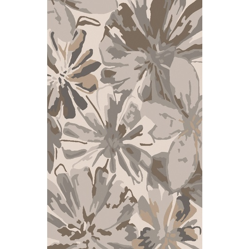 9' x 12' Daisy Dream Gray, Brown and Beige Flower Hand Tufted Wool Area Throw Rug