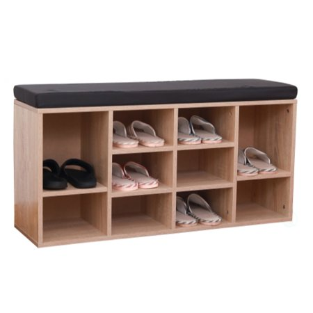 Pleasing Natural Wooden Shoe Cubicle Storage Entryway Bench With Soft Cushion For Seating Short Links Chair Design For Home Short Linksinfo